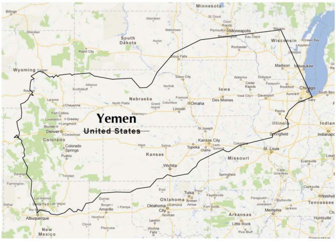 Map of our Yemen Tour across the United States